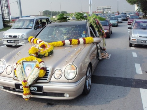 The hearse that bore Kugan's remains yesterday