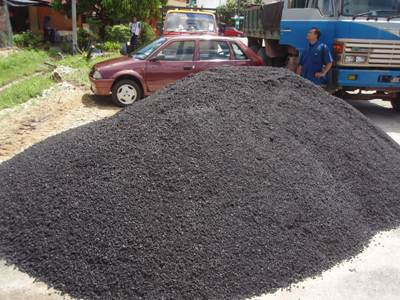 This pile of bitumen now sits right in front of the mosque.