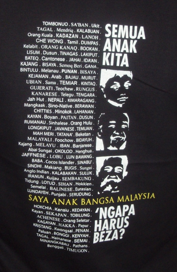 The front print carries all the names of the ethnic groups in the country that we could unoover