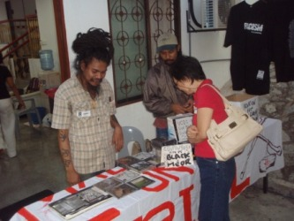 Artiste Rahmat manning the indie music stall