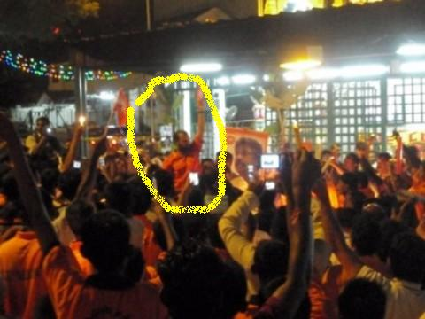 Former Hindraf national co-coordinator R.S. Thanenthiran is the man circled in yellow