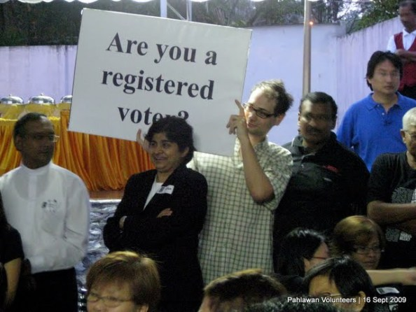 The voter education working group, with Ally Chua, a registrar with the SPR, were on hand to register those eligible to vote