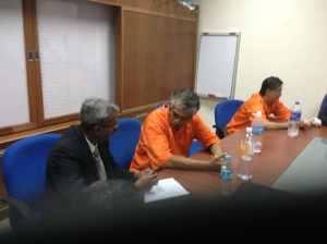 Chatting with Ashok in the makeshift court room in the Jinjang lock up