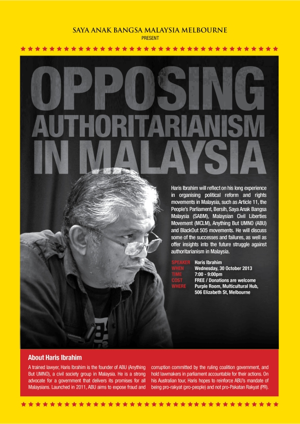 Opposing Authoritarianism Melb Poster